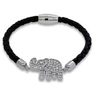 Liza Schwartz Jewelry Lucky Elephant Leather Bracelet Varioussilver