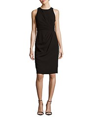Badgley Mischka Side Pleated Sheath Dress Black