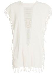 Caravana Convertible Fringed And Distressed Top Cotton Nude Neutrals
