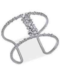 Inc International Concepts Silver Tone Crystal Open Cuff Bracelet Created For Macy's