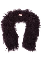 Karl Donoghue Shearling Scarf Dark Purple