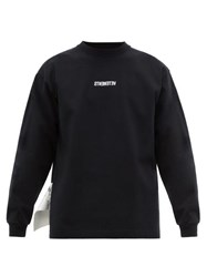 Vetements Inverted Logo Embroidered Jersey T Shirt Black