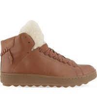 Coach Shearling Leather High Top Trainers Tan