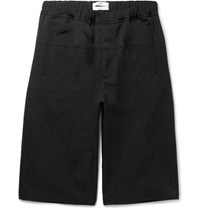 Oamc Wide Leg Faille And Jacquard Shorts Black