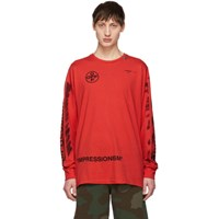 Off White Red Diag Stencil Long Sleeve T Shirt
