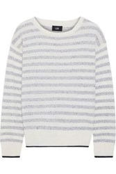 Line Woman Striped Marled Cashmere Sweater Light Gray