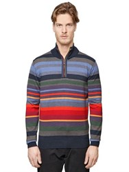 Paul And Shark Fit Striped Half Zip Wool Sweater