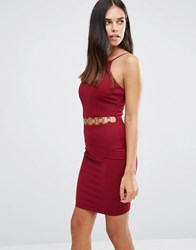 Ax Paris Bodycon Dress With Cut Out Waist And Disc Detail Wine Purple