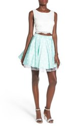 Way In Lace And Polka Dot Two Piece Dress Green