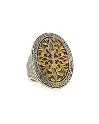 Silver And 18K Gold Filigree Top Oval Ring Konstantino