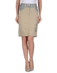 Timezone Knee Length Skirts Beige