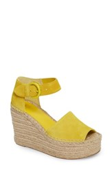 Marc Fisher Women's Ltd Alida Espadrille Platform Wedge Yellow Suede