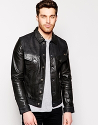 Nudie Jeans Nudie Leather Jacket Perry Reverse Panel Detail Black
