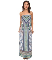 Hale Bob Native Tones Tube Top Maxi W Smocked Hip Band Blue Women's Dress