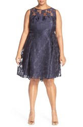 Plus Size Women's London Times 'Scattered Flower' Burnout Organza Fit And Flare Dress