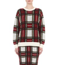 Izzue Checked Knitted Jumper Red Check
