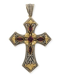 Silver And 18K Rhodolite Cross Pendant Konstantino