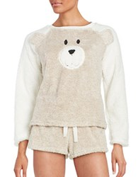 Roudelain Faux Fur Animal Pajama Set Beige