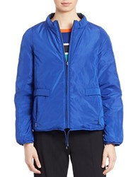 Max Mara Pleated Back Mockneck Down Jacket Blue