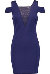 Halston Heritage Mesh Paneled Stretch Ponte Mini Dress Dark Purple