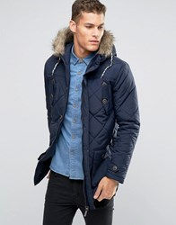 Brave Soul Quilted Parka Jacket With Faux Fur Trim Hood Navy