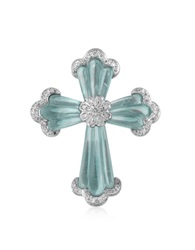 Roma Imperiale Carved Gemstone 18K Gold And Diamond Cross Pendant Aquamarine