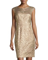 Kay Unger New York Embroidered Metallic Cocktail Dress Bronze