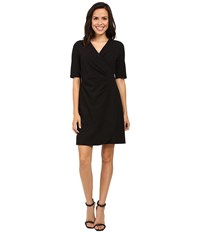 Adrianna Papell V Neck Side Rouched Wrap Dress Black Women's Dress