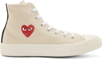 Comme Des Garcons Cream Heart Logo Converse Edition High Top Sneakers