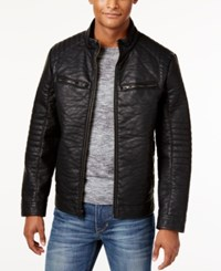 Buffalo David Bitton Men's Big And Tall Textured Faux Leather Jacket Black