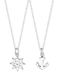 Unwritten Anchor And Helm Necklace Duo In Sterling Silver