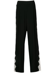 Stella Mccartney Scalloped Lace Trimmed Trousers Black