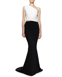 Bergdorf Goodman One Shoulder Open Waist Colorblock Gown