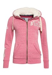 Superdry Borg Lined Applique Zip Hoodie Pink