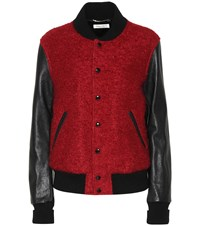 Saint Laurent Wool Mohair And Leather Varsity Jacket Red