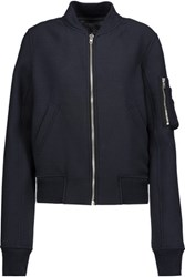 Rick Owens Cropped Wool Blend Bomber Jacket Midnight Blue
