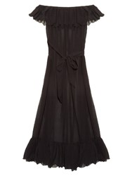 Marysia Swim Victoria Cotton And Silk Blend Maxi Dress Black