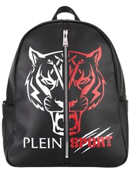 Plein Sport Logo Print Backpack Black