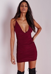 Missguided Slinky Double Strap Ruche Bodycon Dress Burgundy Burgundy