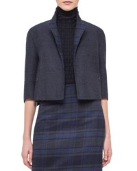 Akris Emma Reversible Solid Plaid Cocoon Jacket Blue Jay Starling Bluejay Starling