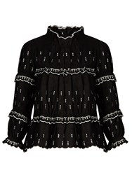 Etoile Isabel Marant Daniela Ruffled High Neck Blouse Black White