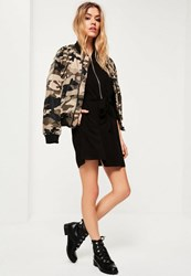 Missguided Black Military Tie Waist Shirt Dress