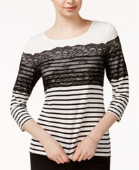 Maison Jules Striped Lace Contrast Top Only At Macy's Egret Combo