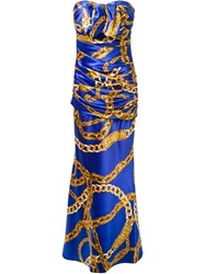 Boutique Moschino Chain Print Ruched Dress Blue