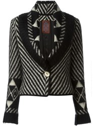 John Galliano Vintage Patterned Knit Jacket Black