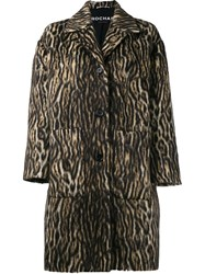 Rochas Zebra Print Coat Brown