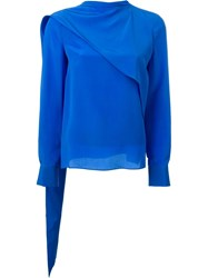 Emanuel Ungaro Drape Detail Long Sleeve Relaxed Fit Blouse Blue