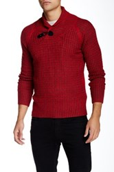 Yoki Shawl Collar Toggle Tab Pullover Red