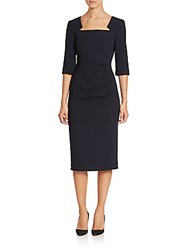 Lk Bennett Three Quarter Sleeve Cutout Dress Blue Sloane