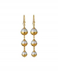 Majorica Graduated Triple Pearl Dangle Earrings Golden